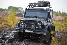 Russian Off Road Car UAZ In Mud