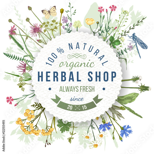 Fotografie, Obraz  Herbal shop round emblem with herbs and flowers
