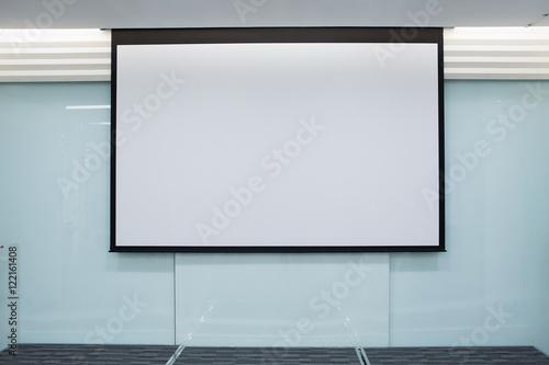 Photo  Empty Projection screen, Presentation board, blank whiteboard fo