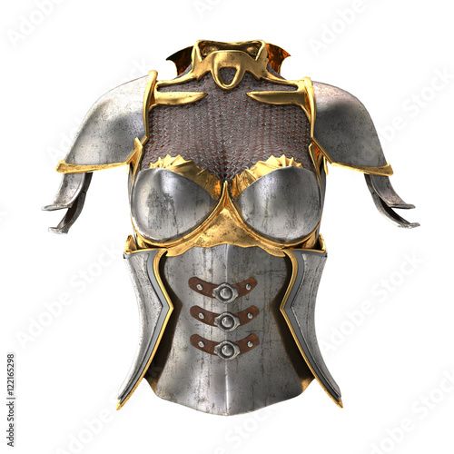 Fotografija woman armor 3d illustration isolated on white background