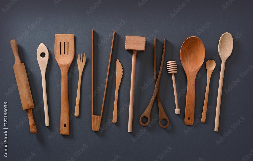 Pz set di utensili da cucina legno di bambù cucchiaio ebay