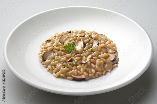 Dish of risotto with porcini mushrooms