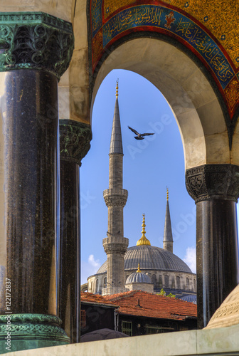 view of the Blue Mosque through the German Fountain, Istanbul, Turkey Poster