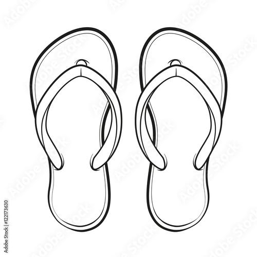 Black and white Flip-flop. Vector summertime emblem.