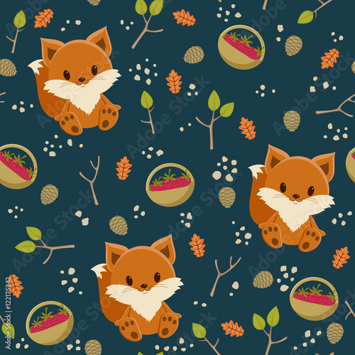 Cotton fabric Seamless wallpaper. Baby fox with a basket of raspberry in a for