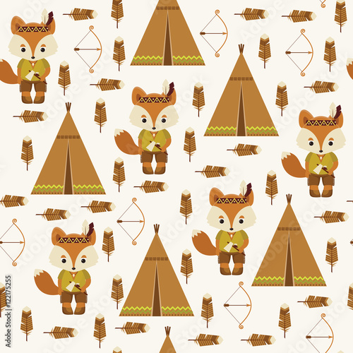 Cotton fabric American indians seamless pattern.