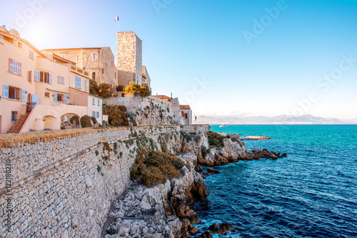 Landscape view on the old coastal village and fortification of Antibes on the fr Wallpaper Mural