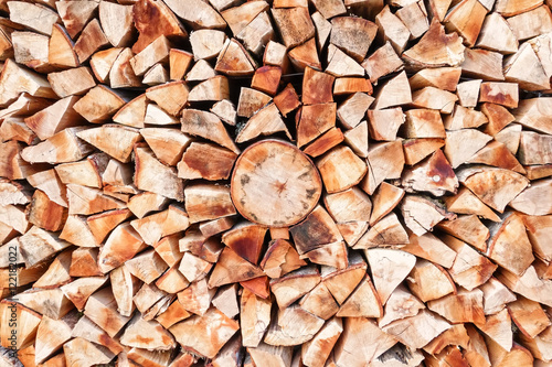 Poster Brandhout textuur Stacked firewood background texture