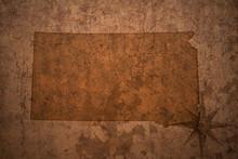 South Dakota State Map On A Old Vintage Crack Paper Background