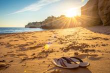 Flip Flops Im Sand, Urlaub, Relaxen, Chillout