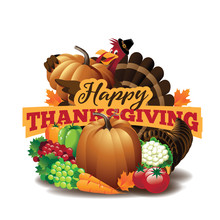 Happy Thanksgiving Invitation, Icon, Greeting Card. EPS 10 Vector.