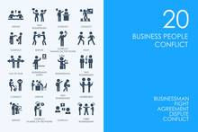Set Of BLUE HAMSTER Library Business People Conflict Icons