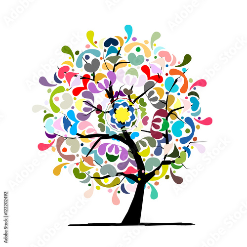 Mandala tree, floral sketch for your design Fototapeta