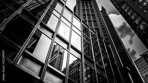 windows of business building with B&W color - fototapety na wymiar
