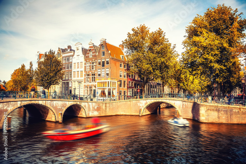 Poster Amsterdam Bridges over canals in Amsterdam at autumn