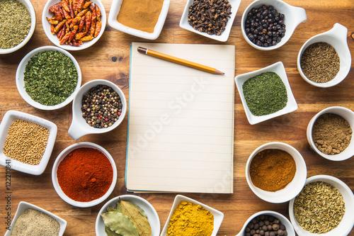 Obraz Various spices and blank notebook. - fototapety do salonu
