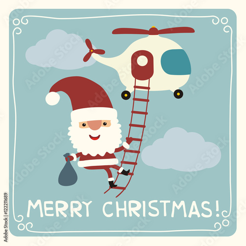 merry christmas funny santa claus flying on helicopter with bag of gifts christmas card - Merry Christmas Funny