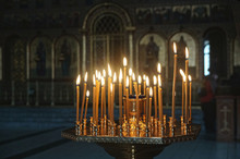 Candles In A Stand In Russian Orthodox Cathedral.