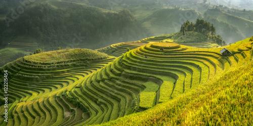 Garden Poster Rice fields Smooth symbolize the city's Mu cang chai,Yenbai,Vietnam.