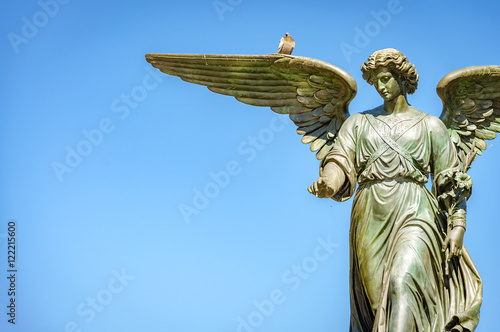 Angel of the waters is the statue on top of the Bethesda Fountain, in Central Pa Poster