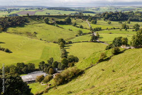 View of farm land and River Dove in Crowdecote Canvas Print