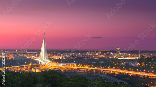 Beautiful panorama of Belgrade town at dusk Canvas Print