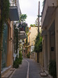 narrow street with houses Crete Rethymno