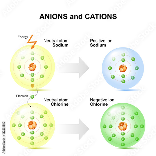 Anions and cations for example sodium and chlorine atoms. Canvas Print