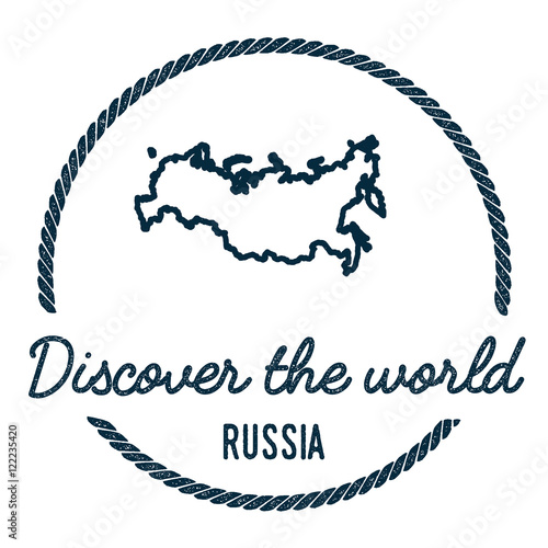 Russian Federation Map Outline. Vintage Discover the World Rubber ...