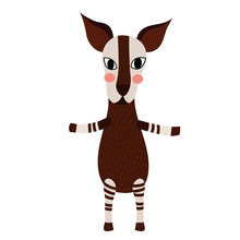 Okapi Standing On Two Legs Ani...
