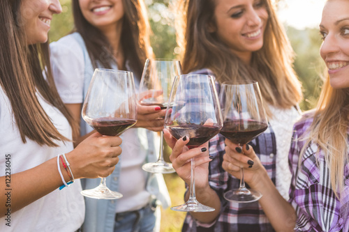 Fotomural  Smiling Girls Toasting with Red Wine Outdoors