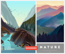 Set Of Nature Landscape Backgrounds With Silhouettes Of Mountains And Trees.