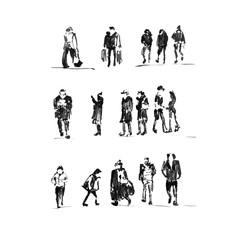 Sketch. Set of painted people. Ink brush.