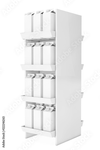 Blank Milk or Juice Carton Boxes in Store Shelf  3d Rendering - Buy