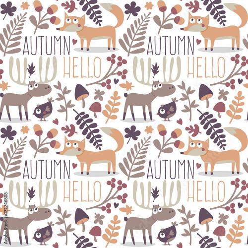 Jednolity wzór zwierzę ładny jesień z lisa, jelenia, łosia, pszczoły, kwiat, roślin, liść, jagoda, serce, przyjaciel, kwiatowy, natura, żołądź, grzyb, dziki