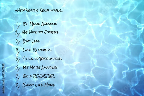 Photo  funny new years resolutions list on pool water background