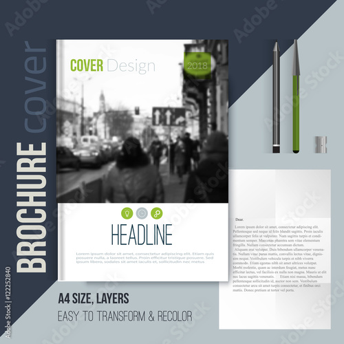 clean brochure cover template with blured city landscape letter and