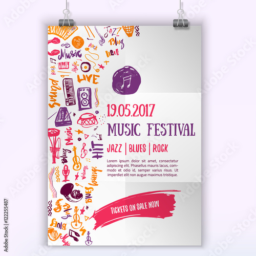 Music concert vector poster template. Can be used for printable ...