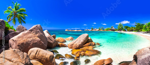 Poster Donkerblauw most beautiful tropical beaches - Seychelles ,Praslin island