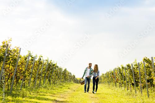 Cuadros en Lienzo  Young couple in vineyard