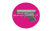 Gun Control - Illustration Of A Handgun In Front Of A Pink Circle With Barbed Wire Across The Front. Gradients Have Been Used.