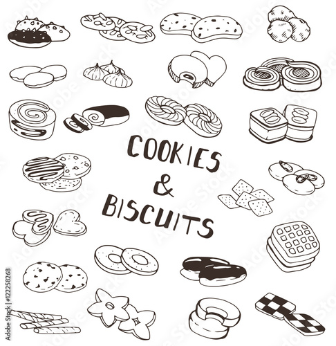 Fotografia Hand-drawn collection of the different cookies and biscuits desserts