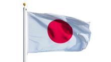 Japan Flag Waving On White Bac...