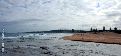 Foto op Canvas Olijf Views from North Narrabeen Head with Narrabeen lakes entrance and Narabbeen beach