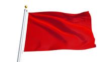 Red Flag Waving On White Backg...