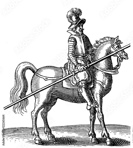 Photo  thirty years war rider with armor and lance