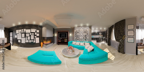 Fotografia  3d illustration spherical 360 degrees, seamless panorama of living room interior design