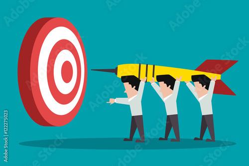 Fotografie, Obraz  teamwork. towards the goal. darts. vector illustration