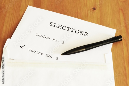 Fotografia, Obraz  The ballot on the table with a pen