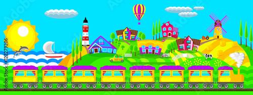 Spoed Foto op Canvas Turkoois Morning landscape train in the village